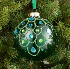 EMERALD CLEAR GLASS BAUBLE - JOHN LEWIS