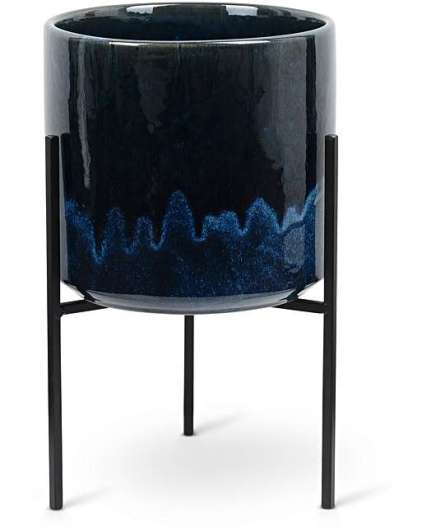 ABUO BLUE CERAMIC PLANT POT AND STAND
