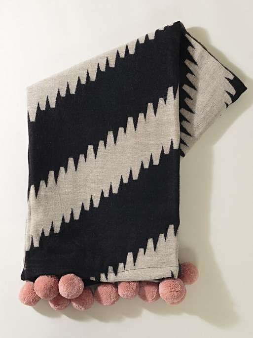 DIAGONAL STRIPE BLACK THROW