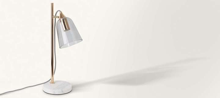 GREY GLASS SHADE & MARBLE TABLE LAMP