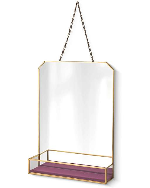 HANGING WALL MIRROR WITH PINK VELVET TRAY