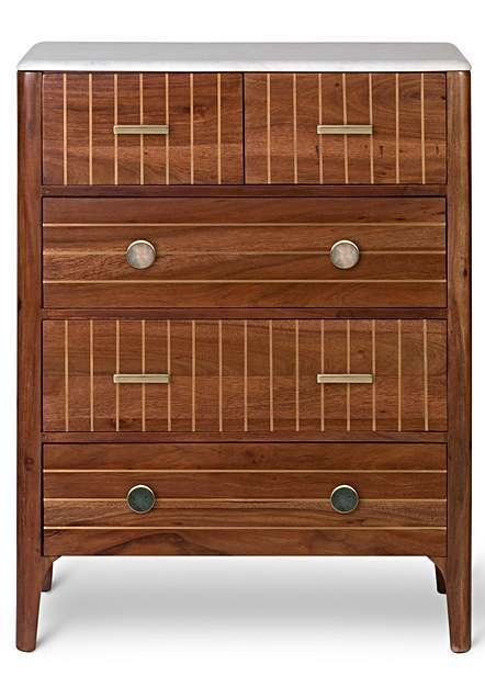 OTTONE MARBLE AND ACACIA WOOD CHEST OF DRAWERS