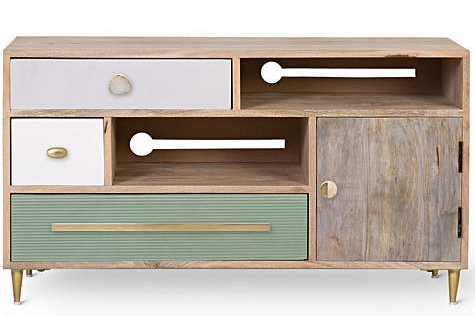 TESSA UNSTAINED MANGO WOOD TV CABINET